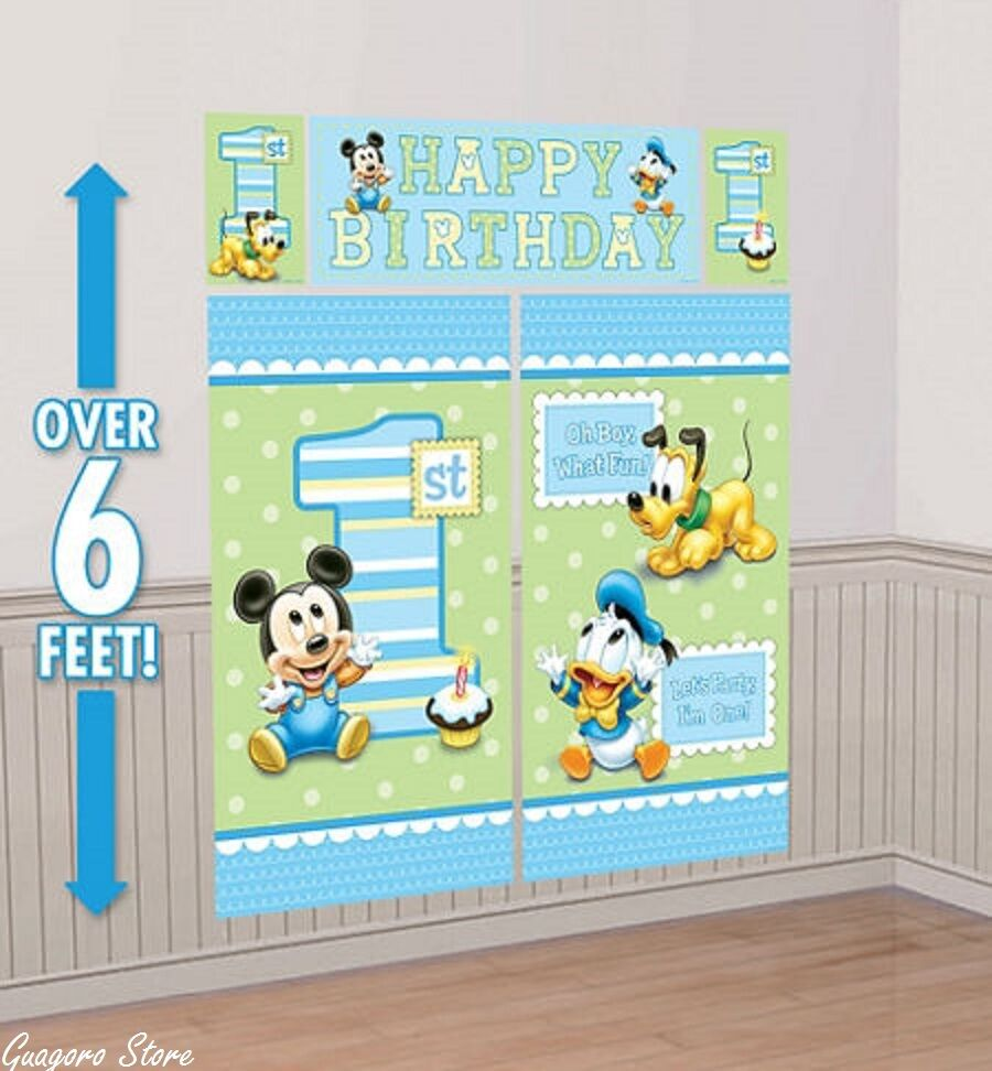 Baby mickey mouse 1st birthday scene setter wall banner for Baby mickey decoration ideas