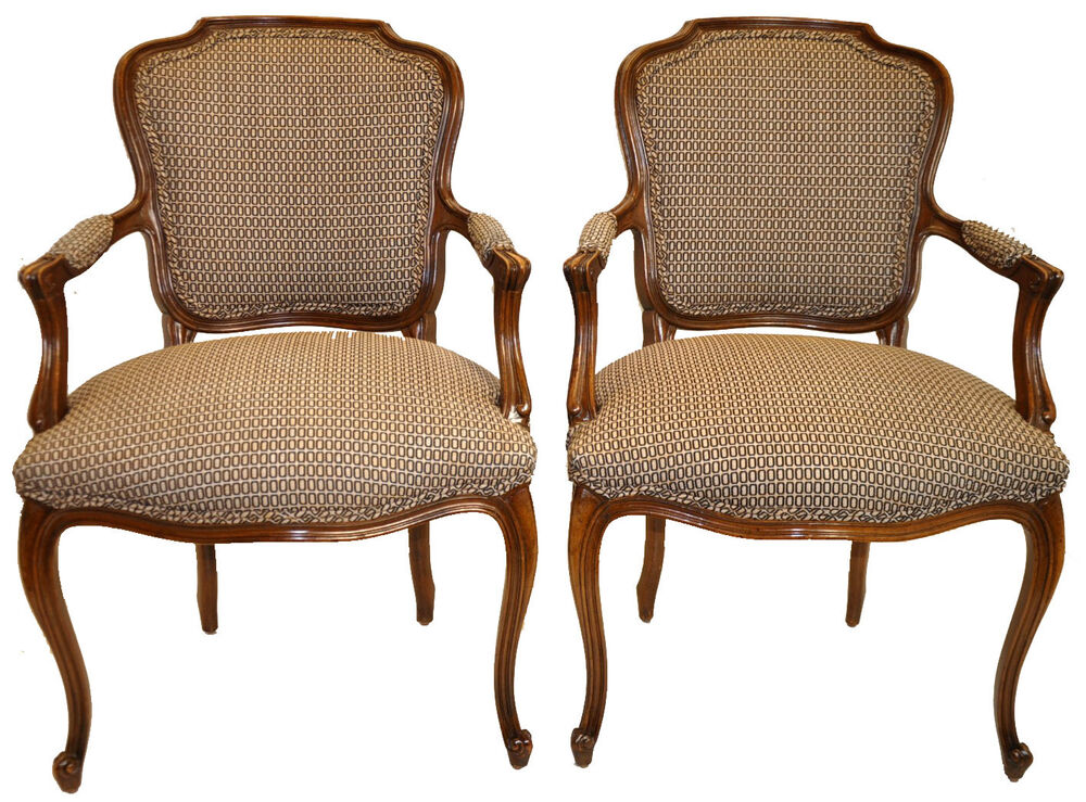 1940 S Vintage Pair Of Louis Xv Fauteuil Chairs Original