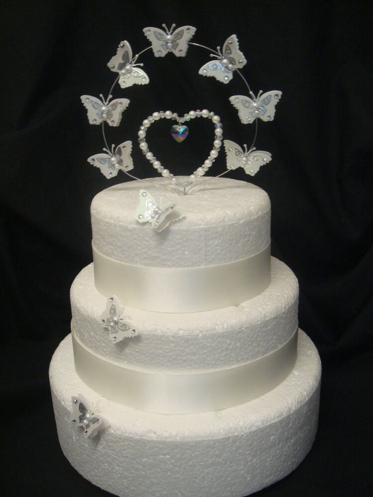pearl heart wedding cake topper pearl butterfly wedding anniversary cake 18164