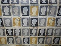 Prestigious Textiles First Class Stamps 100% Cotton Curtain Fabric - Charcoal