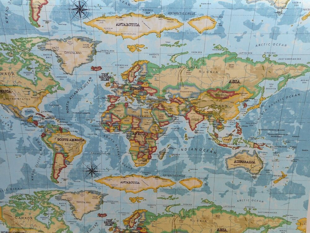 Atlas World Map Prestigious Textiles 100 Cotton Curtain Craft Fabric Azu