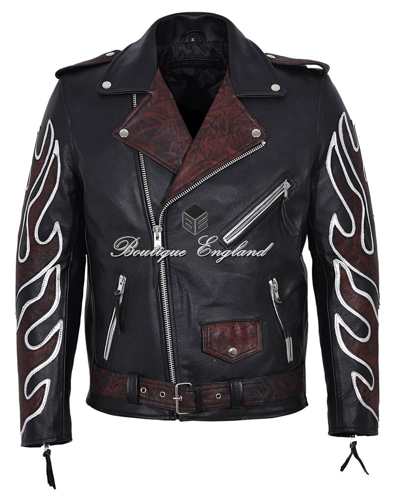 Flame leather jacket