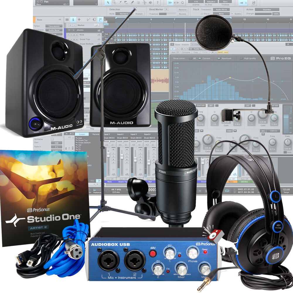 presonus audiobox usb m audio av30 at mic home recording package studio kit ebay. Black Bedroom Furniture Sets. Home Design Ideas