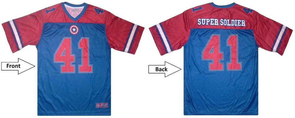 Marvel captain america 39 super soldier 41 39 football style American football style t shirts