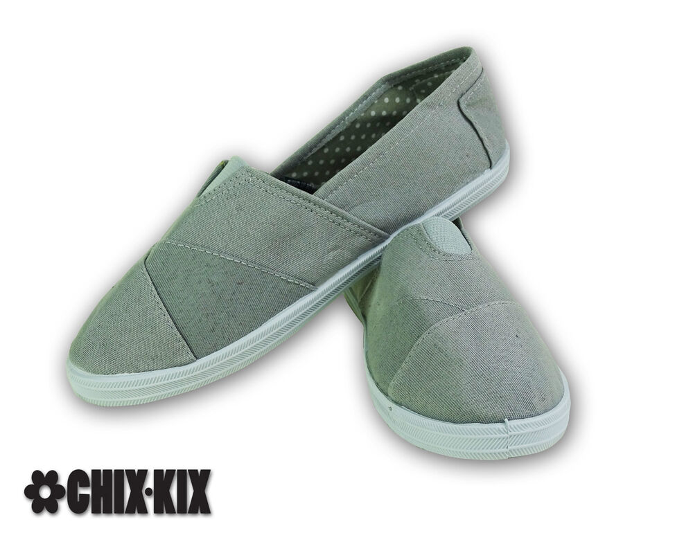 womens grey canvas shoes slip ons casual sneakers kicks