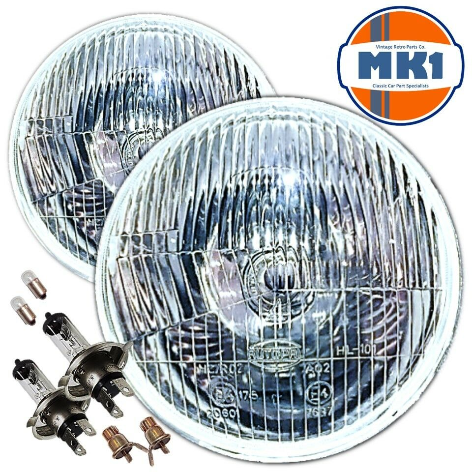 7 Quot Flat Lens Classic Car Sealed Beam Headlamps Headlights