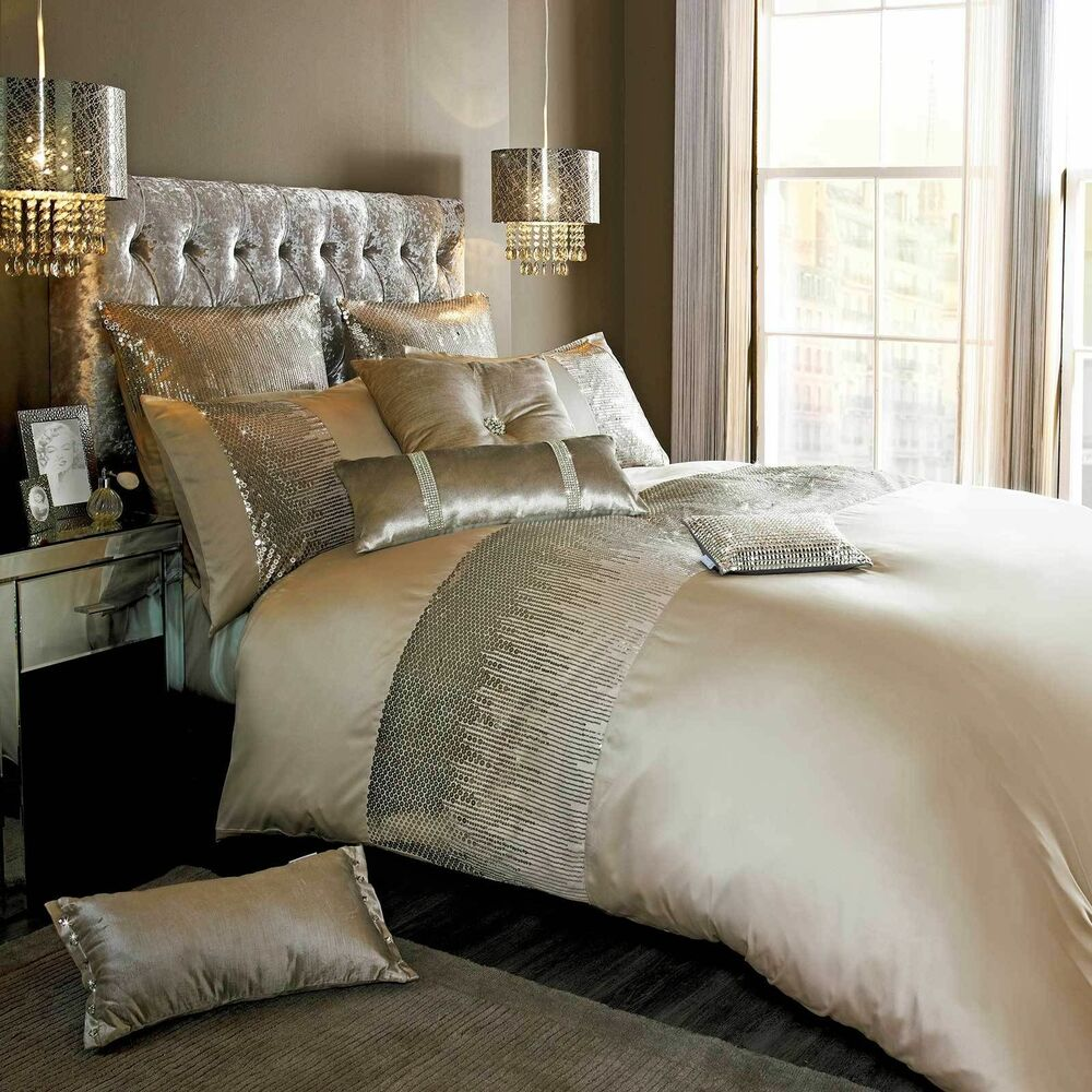 Designer kylie minogue vida gold bed linen bedding range quilt duvet cover new ebay - Look contemporary luxury bedding ...