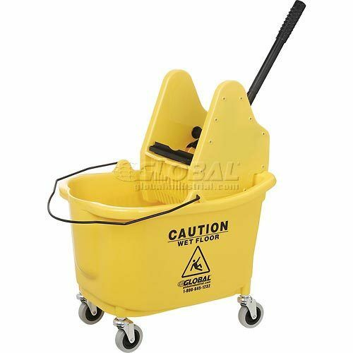 Global Mop Bucket And Wringer Combo Down Press Ebay