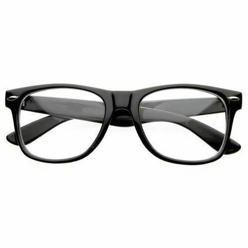 BLACK FRAME RETRO Geek Nerd Non Prescription Clear Lens ...