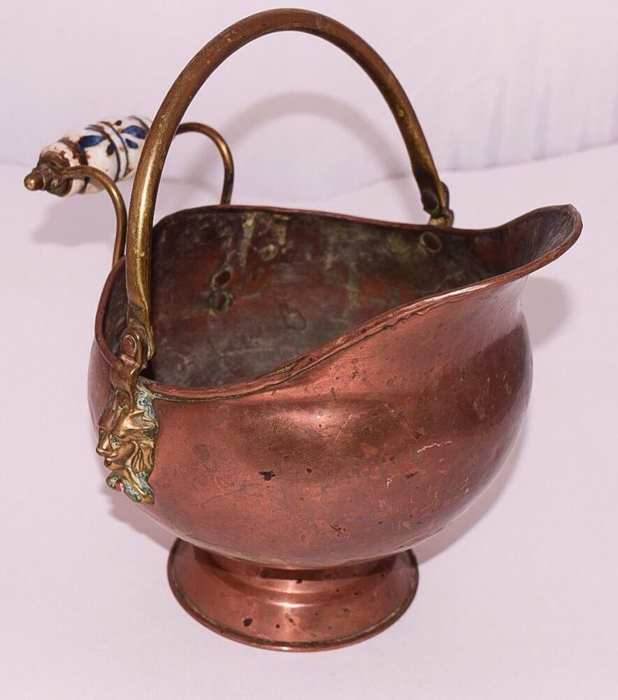 Antique copper coal scuttle w porcelain delft handle all