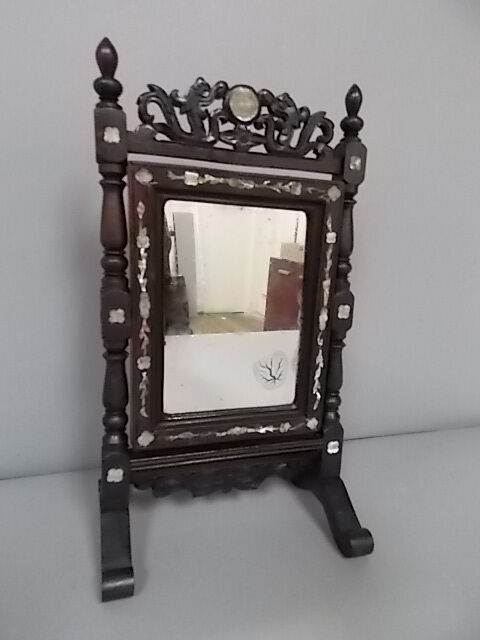 Rare Antique Chinese Rosewood Vanity Mirror W Mother Of