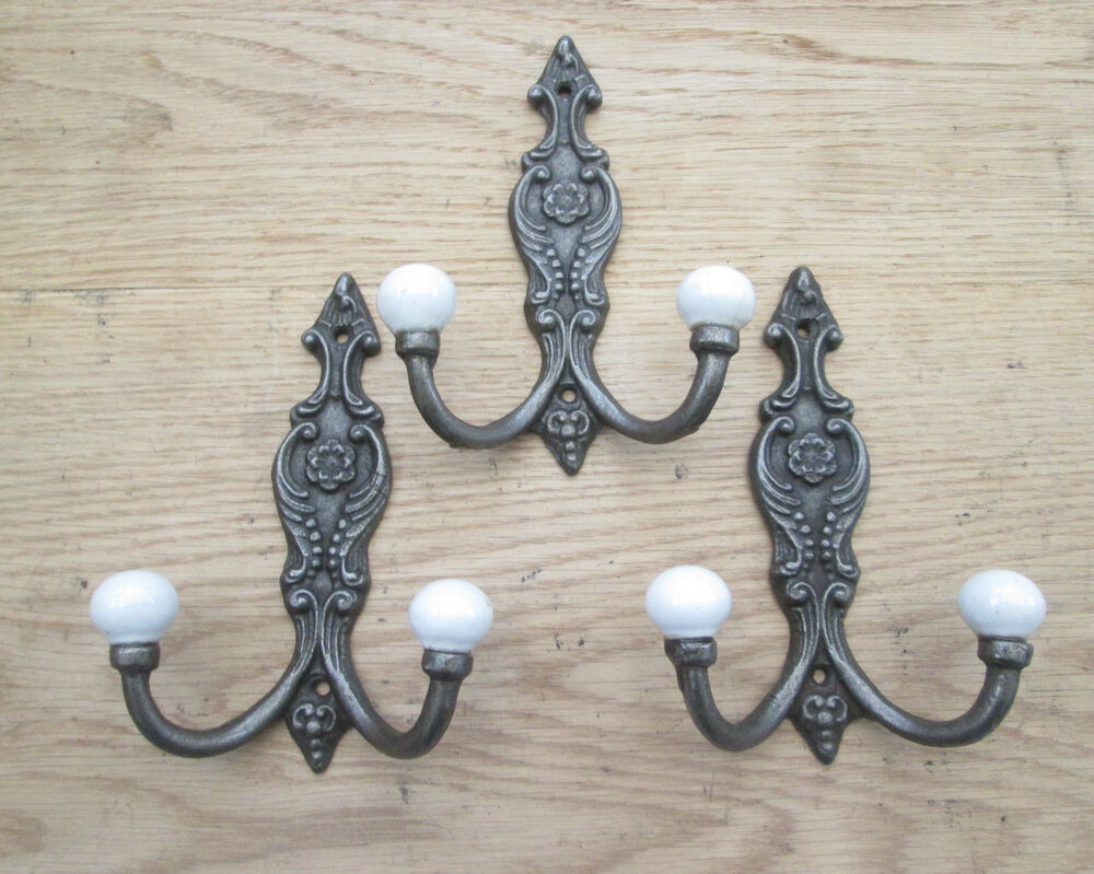 3 X Cast Iron Shabby Chic Ornate Decorative Antique French