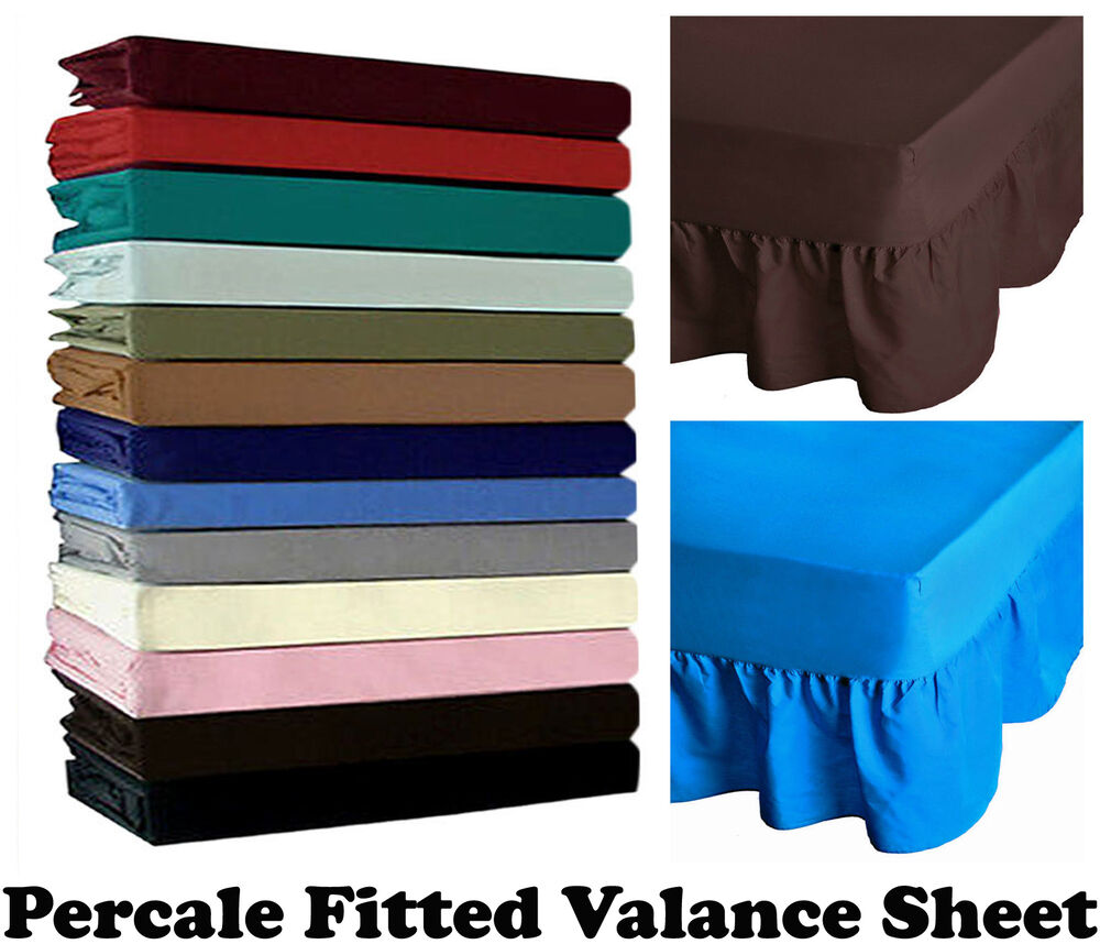 non iron percale fitted valance sheet single double king sizes pillowcase ebay. Black Bedroom Furniture Sets. Home Design Ideas