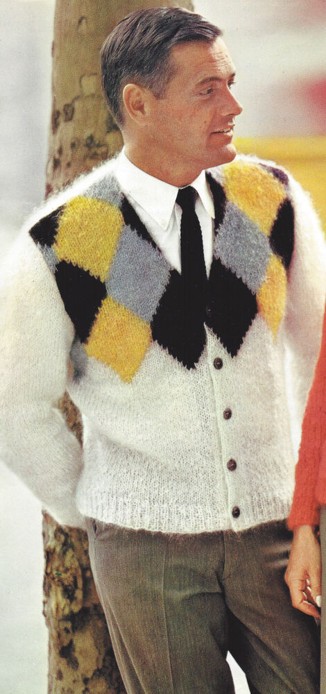 Vintage Knitting PATTERN to make Mens Mohair Argyle Sweater Cardigan Men...