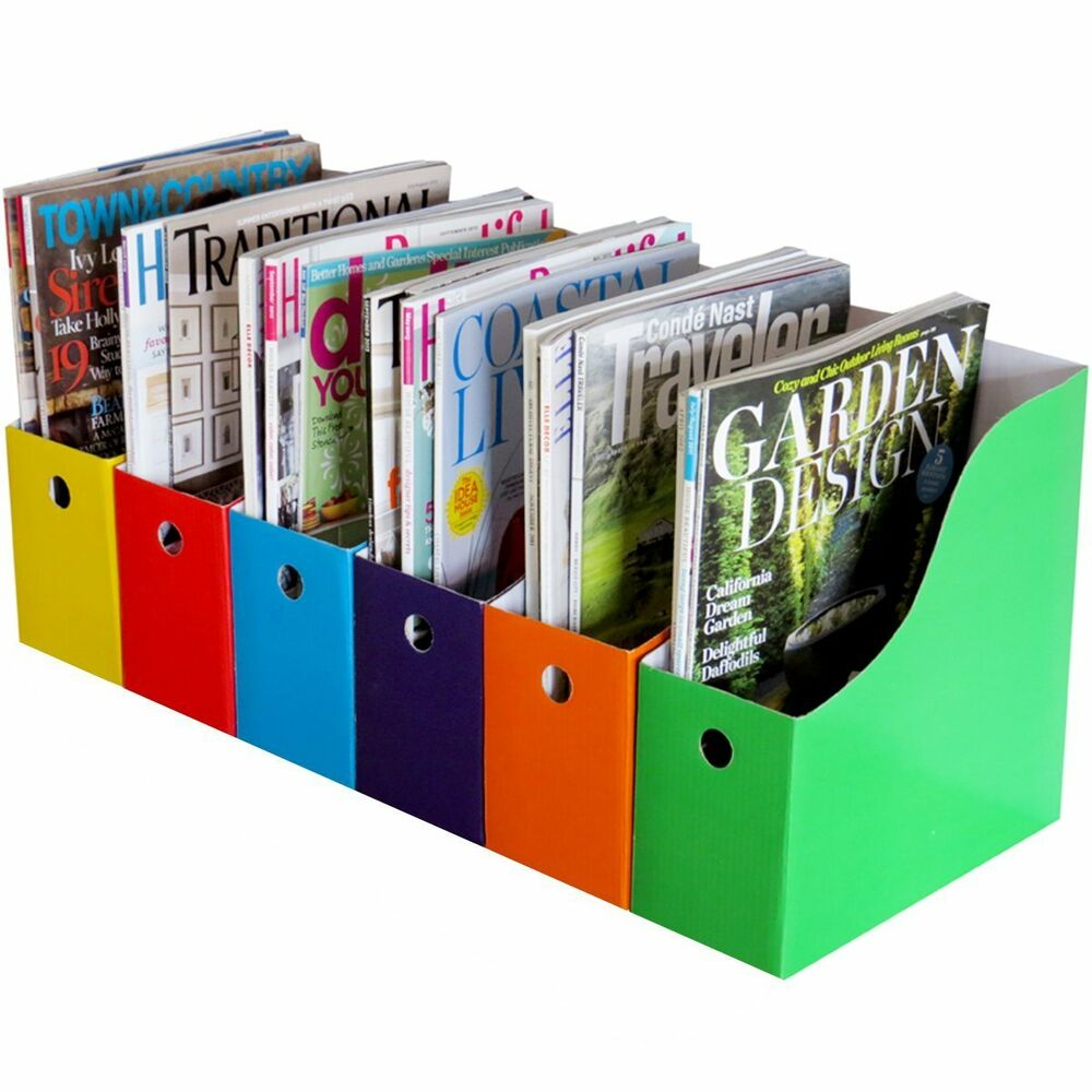Home office 6 magazine file holder bin desk storage - Over the desk organizer ...