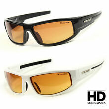 SPORT WRAP HD NIGHT DRIVING VISION SUNGLASSES YELLOW HIGH DEFINITION GLASSES L#