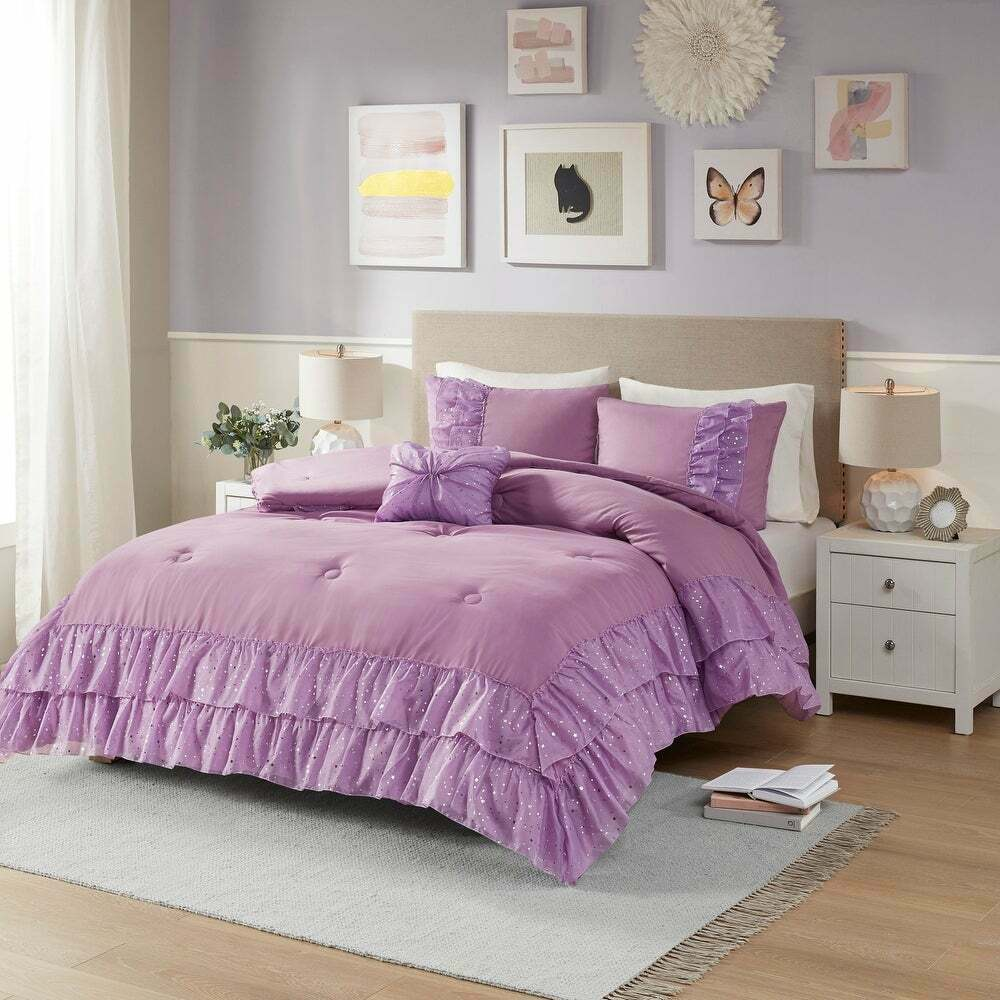 Beautiful soft purple white ruffle polka dot cozy girl comforter set