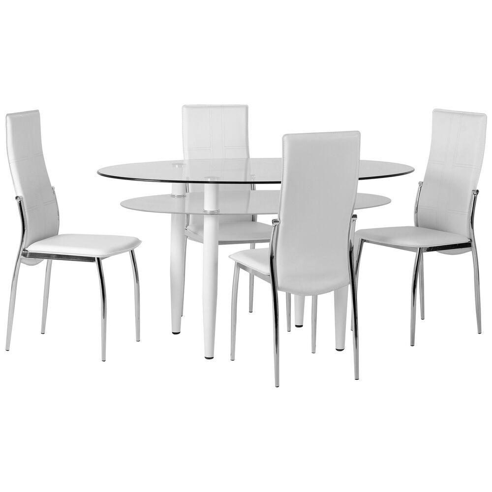 Clear glass oval dining table and chair set with 4 leather for Black and white dining set
