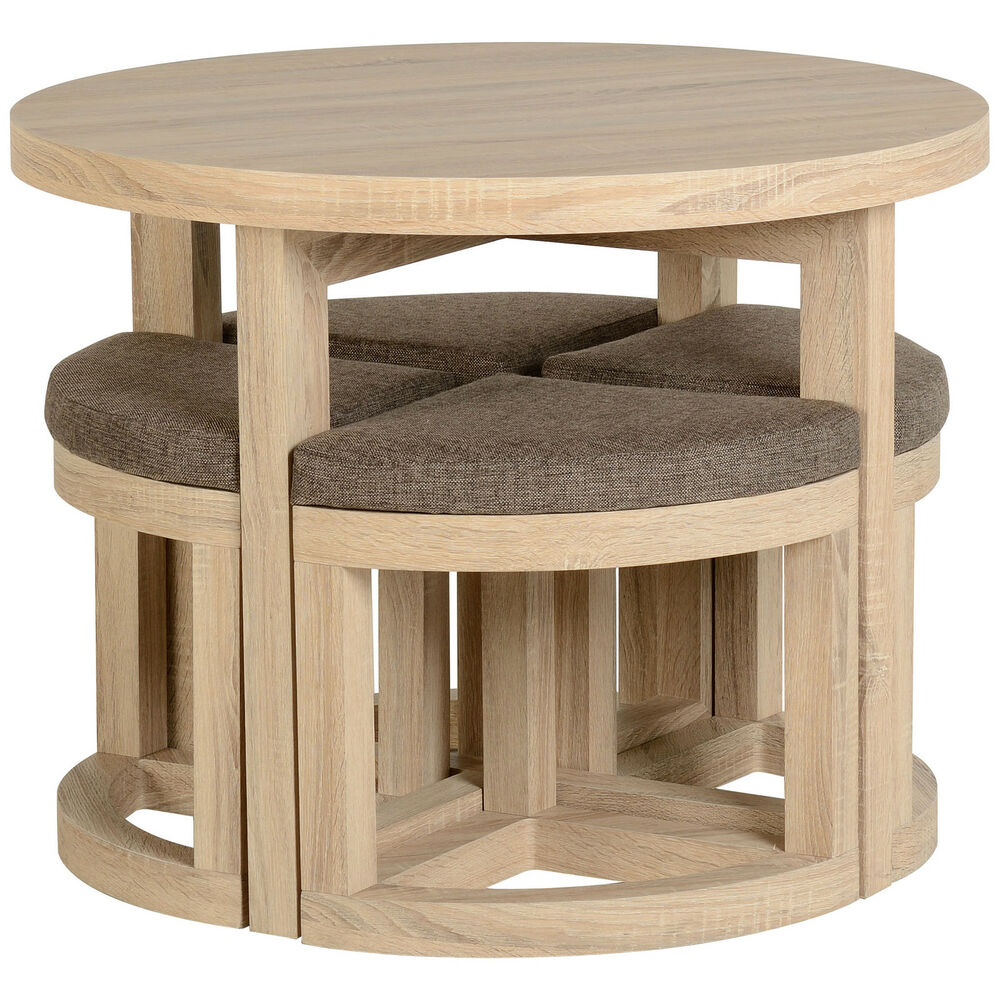 Sonoma Oak Veneer Round Dining Table And Chair Set With 4 Brown Linen Seats