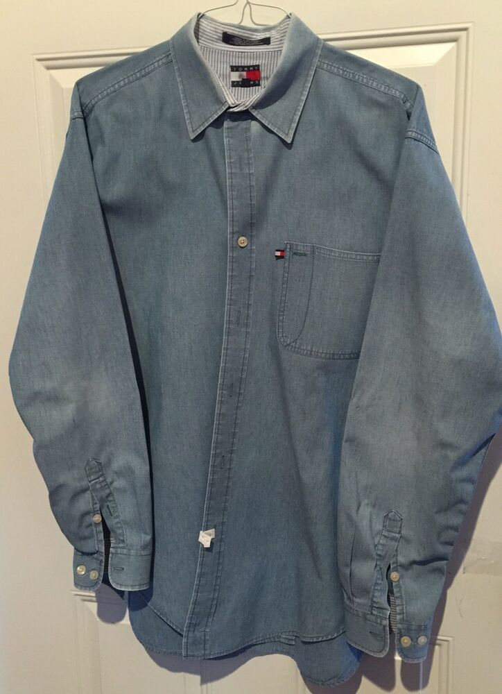 Vintage tommy hilfiger mens large shirt denim button down for Mens long sleeve button down shirts