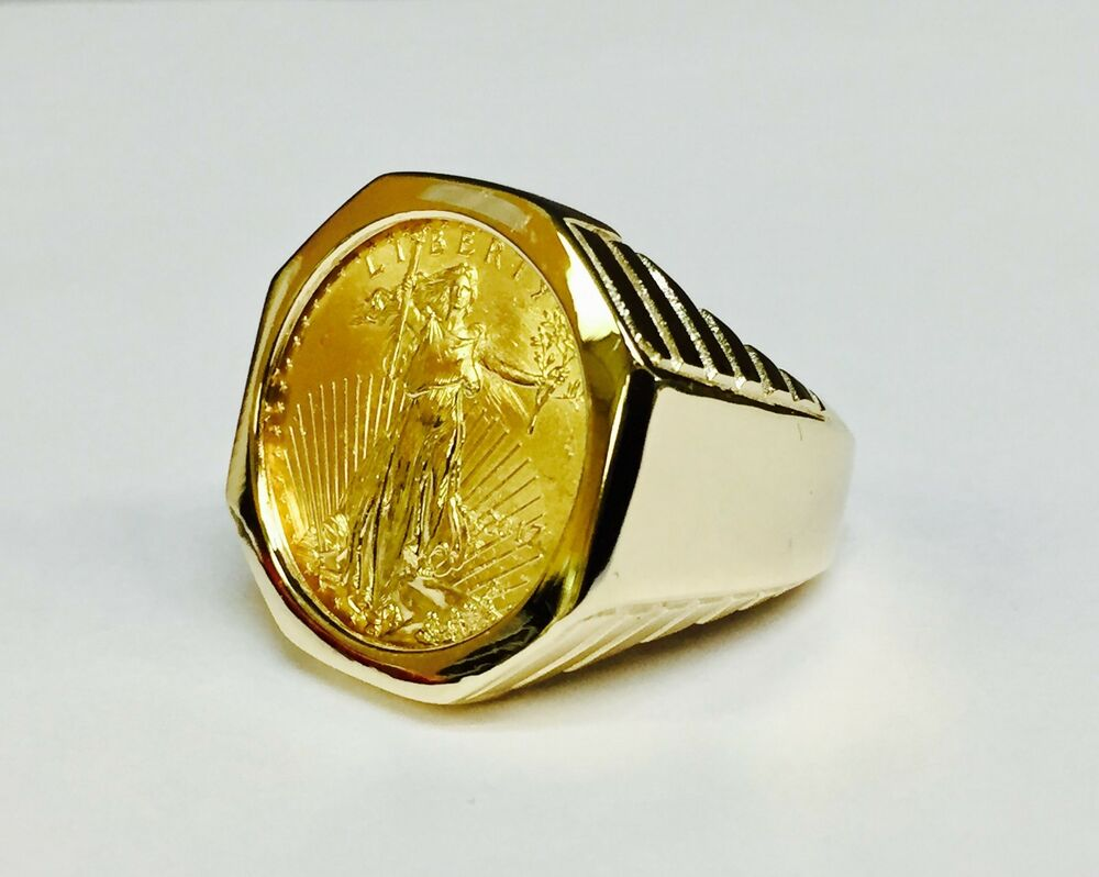 14k Solid Yellow Gold Mens 25mm Coin Ring With A 22k 1 4 Oz American Eagle Coin Ebay