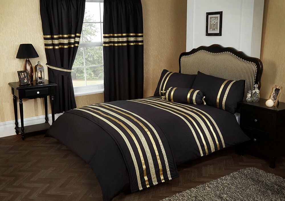 black gold colour stylish lace diamante duvet cover luxury beautiful bedding ebay. Black Bedroom Furniture Sets. Home Design Ideas