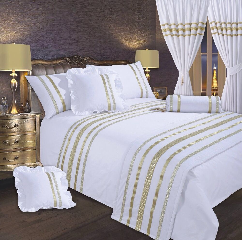 White Amp Gold Stylish Lace Diamante Sequin Duvet Cover