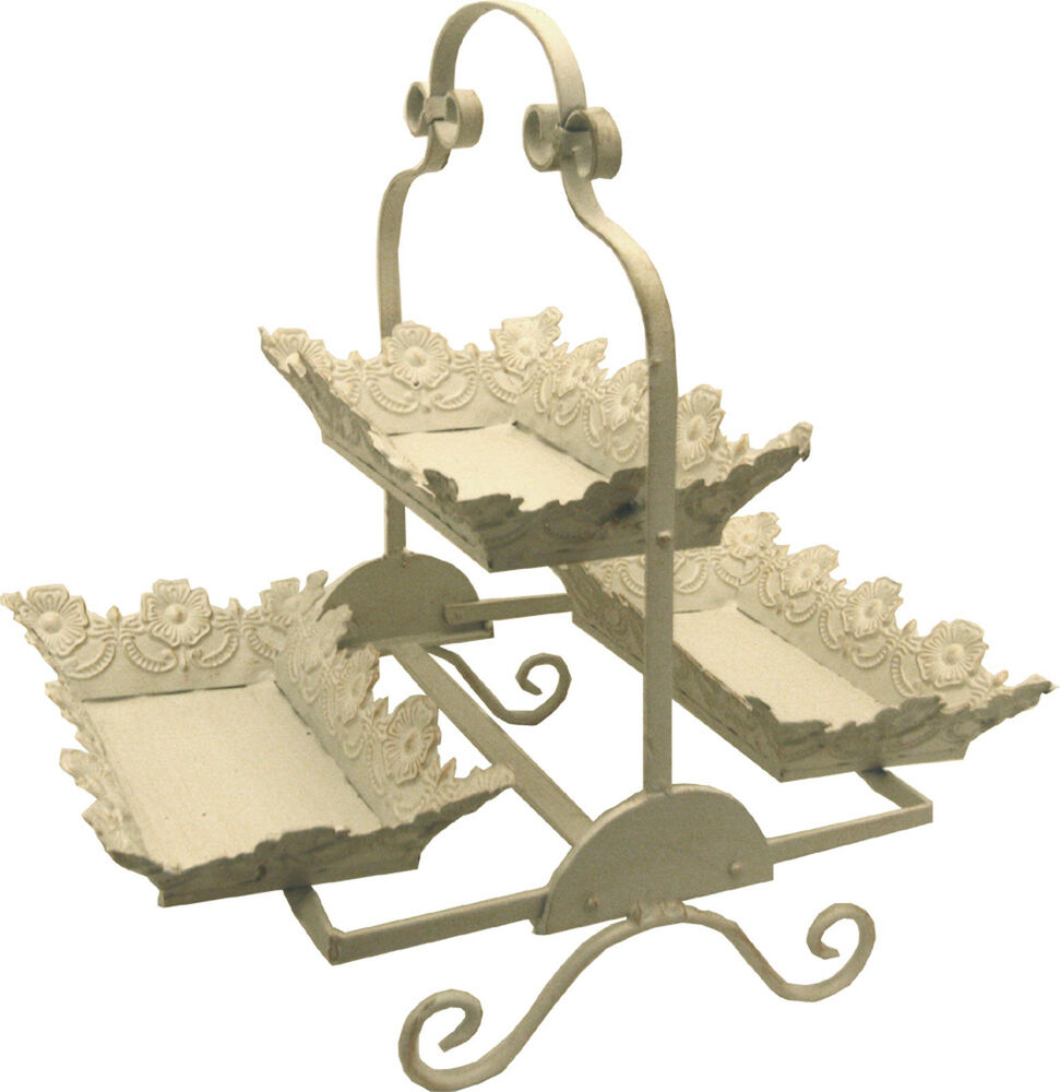 antique cream metal 3 tier display tray stand mx880 ebay. Black Bedroom Furniture Sets. Home Design Ideas