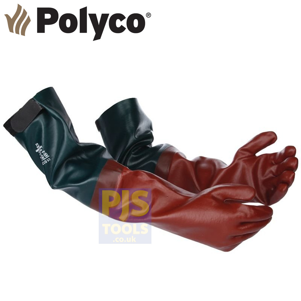 Oil Resistant Gloves >> Polyco long john pvc rubber glove 25in gauntlet ponds chemicals drains fishing | eBay