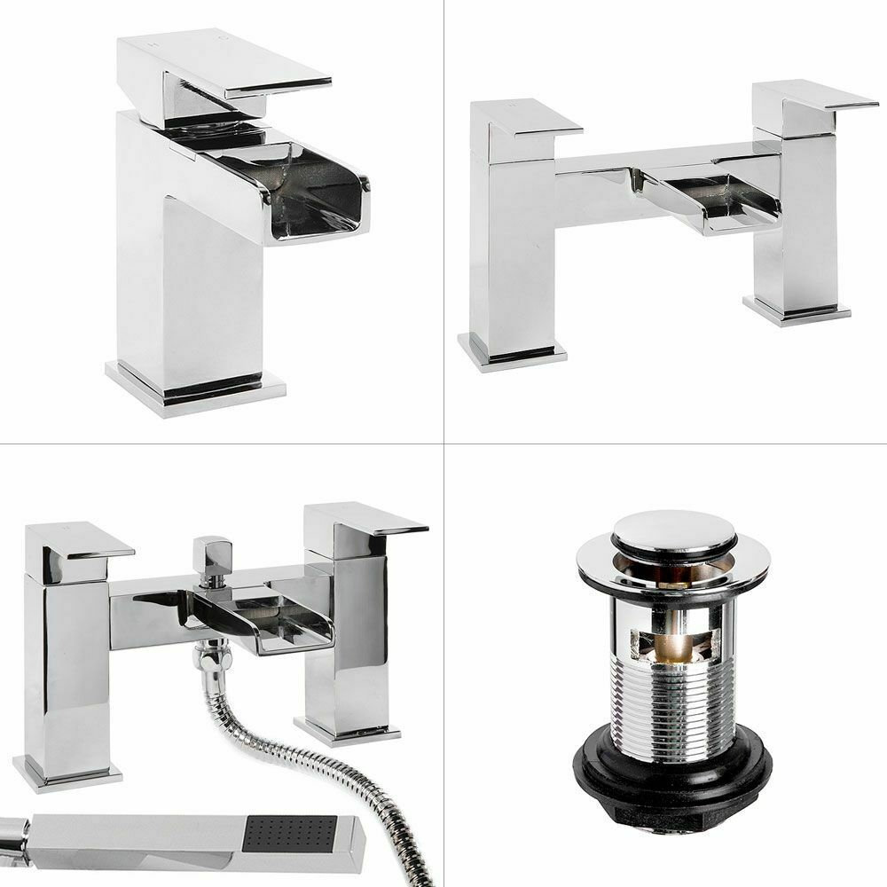 Waterfall Bathroom Tap Pack Modern Basin With Waste Bath Filler Shower Mi