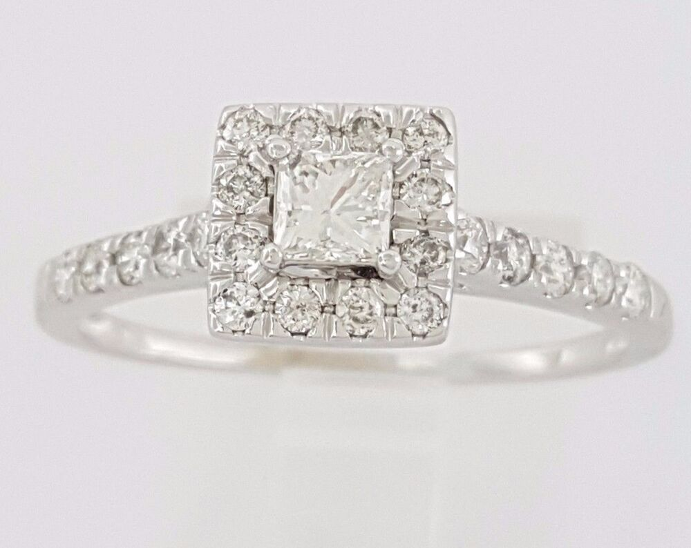 0 52 ct 14k white gold princess cut halo