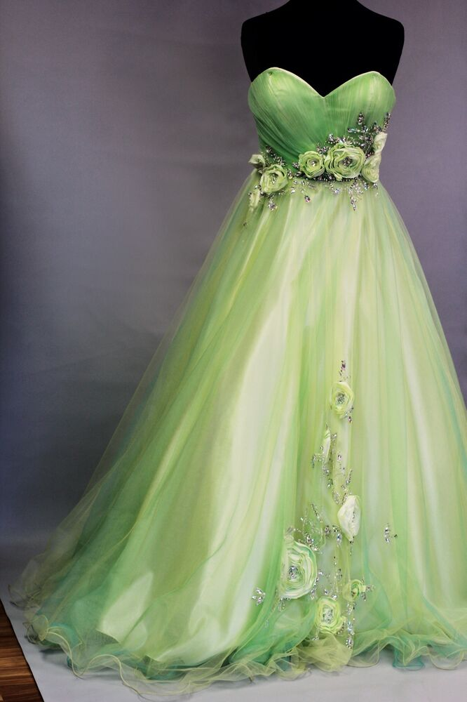 formal pink by alexia designs lime green ball gown size