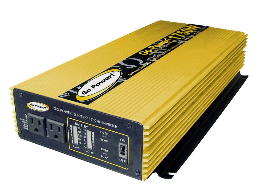 Go Power GP 1750 HD 1750 Watt 12 Volt Modified Sine Wave Inverter ...