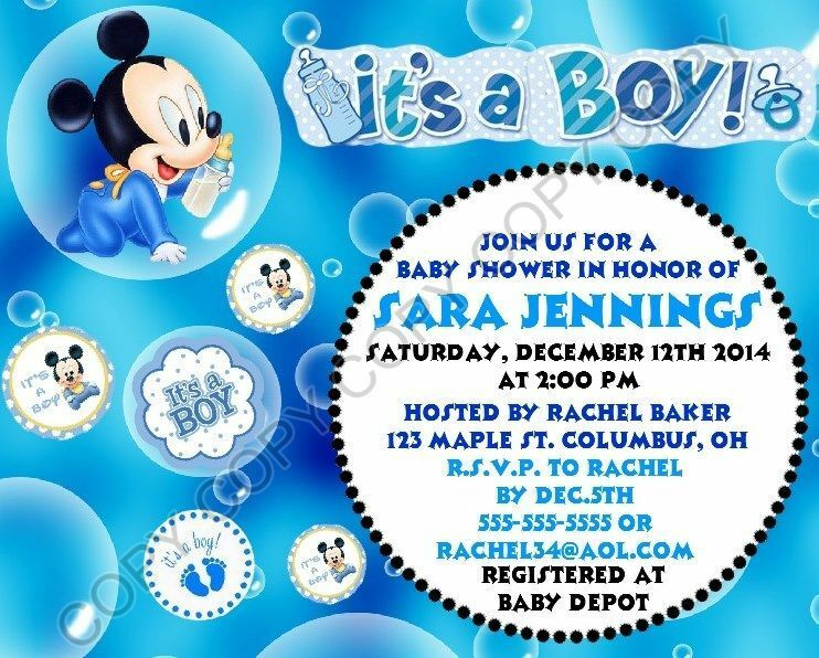 Details About Mickey Mouse Baby Shower Invitations 12 Pk Personalized It S A Boy
