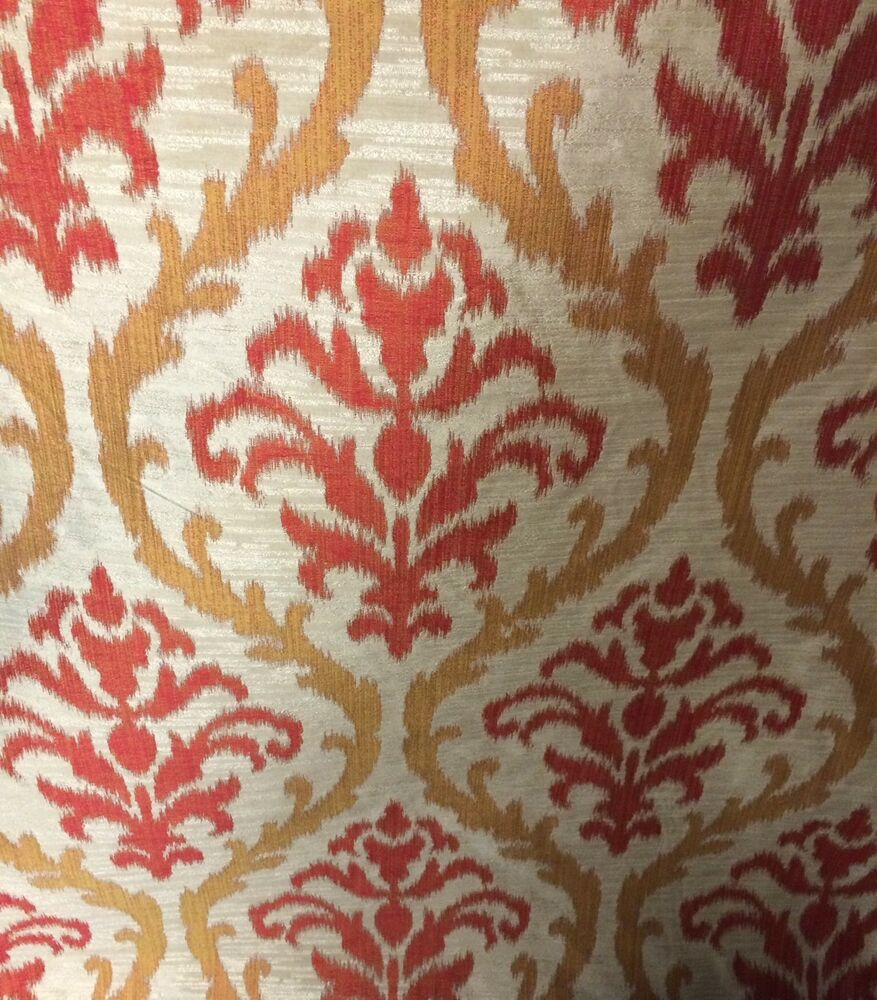 Drapery fabric red and gold faux silk by the yard ebay for Purchase fabric by the yard