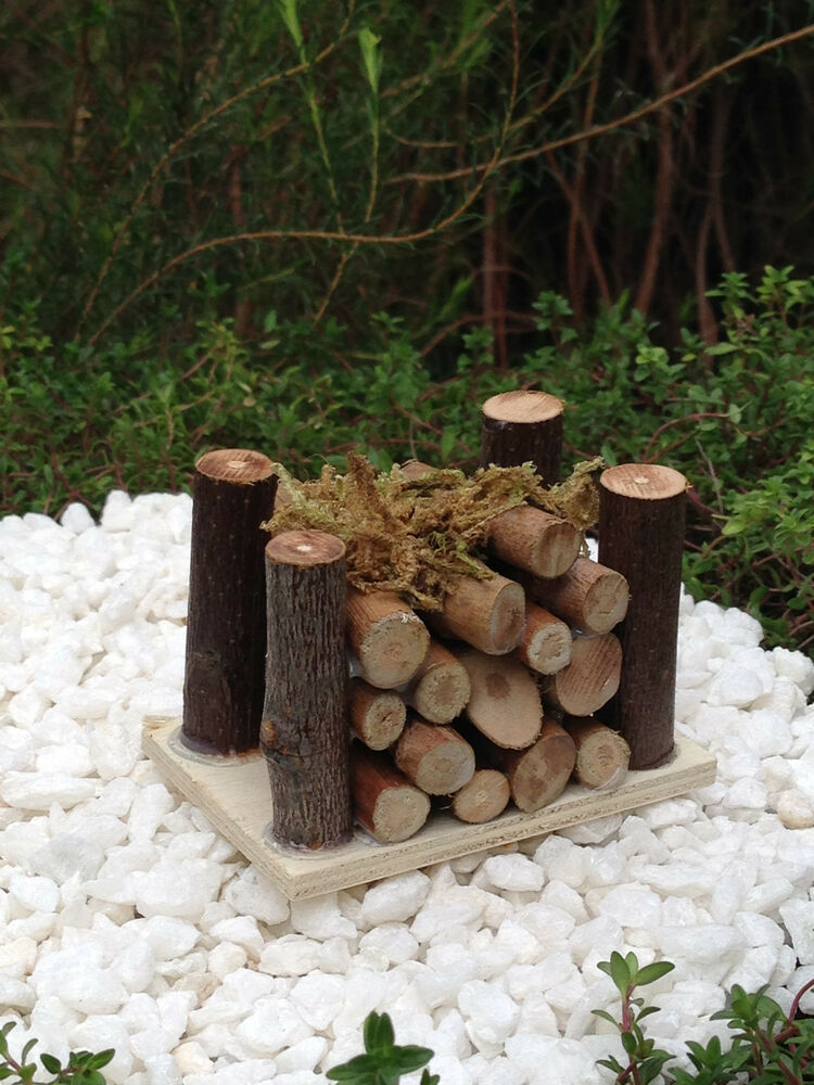 miniature fairy garden accessories mini wooden wood pile with moss new ebay