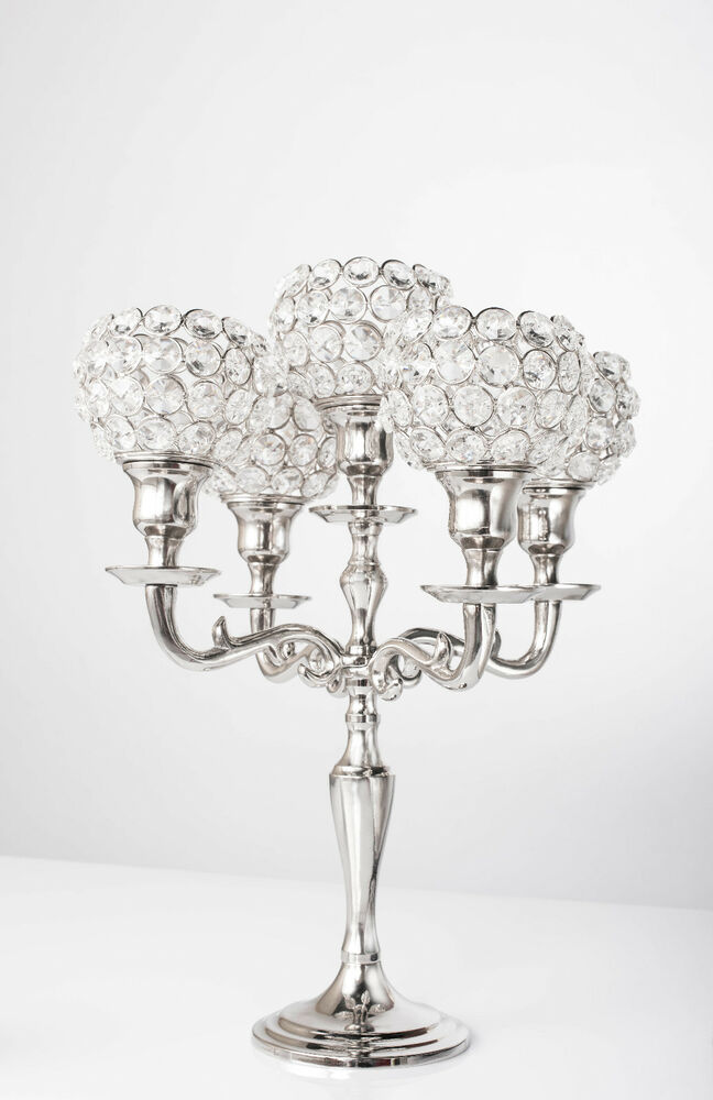 Arm crystal candelabra wedding centerpieces votive
