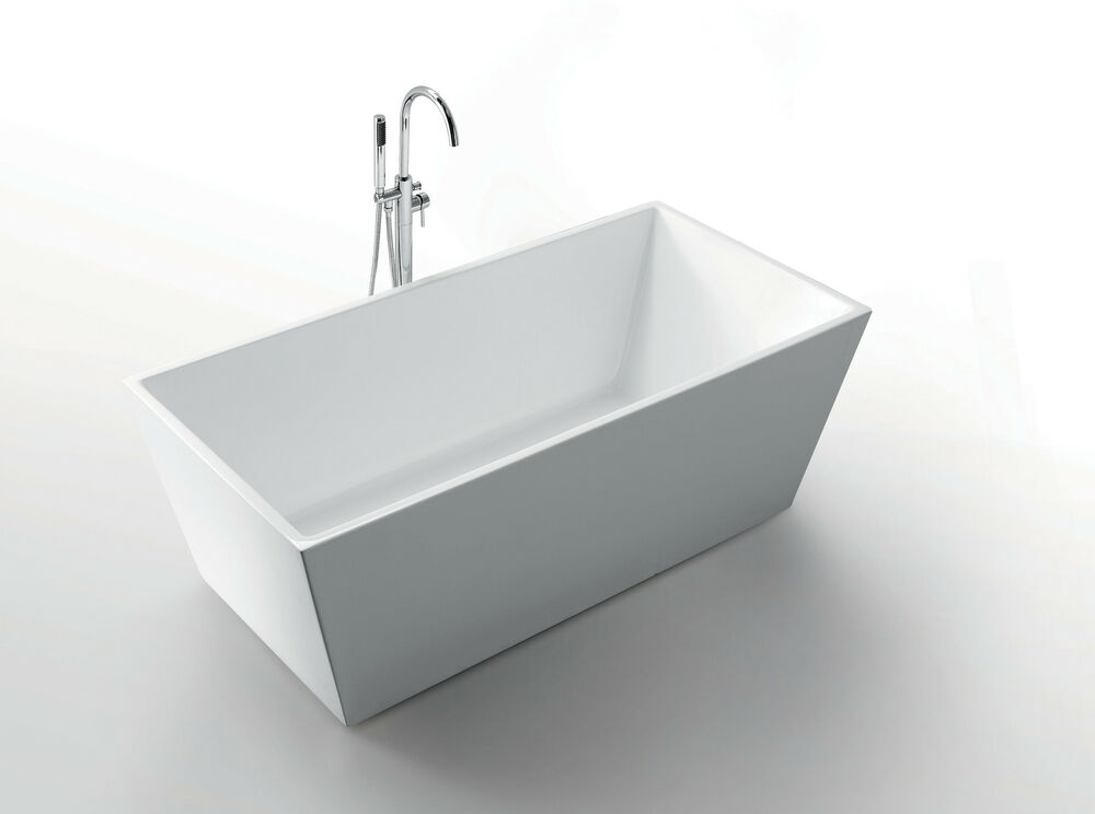 SQUARE Fibreglass White Acrylic SOLID Freestanding Bath Bathtub 1500 ...