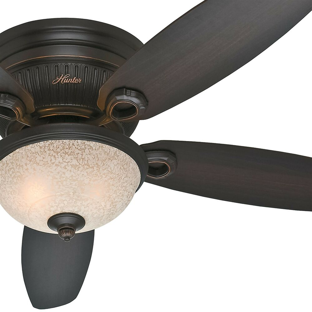 hunter 52 low profile ceiling fan onyx bengal finish dark wood blades light ebay. Black Bedroom Furniture Sets. Home Design Ideas