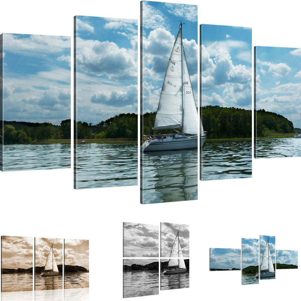 wandbilder kleines segelschiff bild auf leinwand see ozean meer kunstdruck ebay. Black Bedroom Furniture Sets. Home Design Ideas