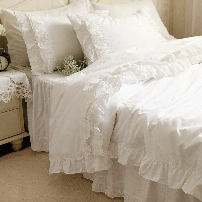 Pure white embroidered cotton duvet cover set bedding set ebay