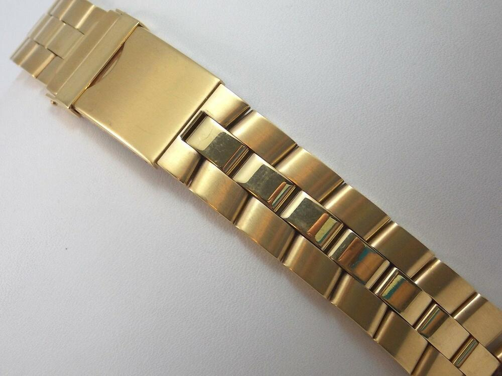 Speidel Mens Vintage Watch Band Straight Expansion Gold