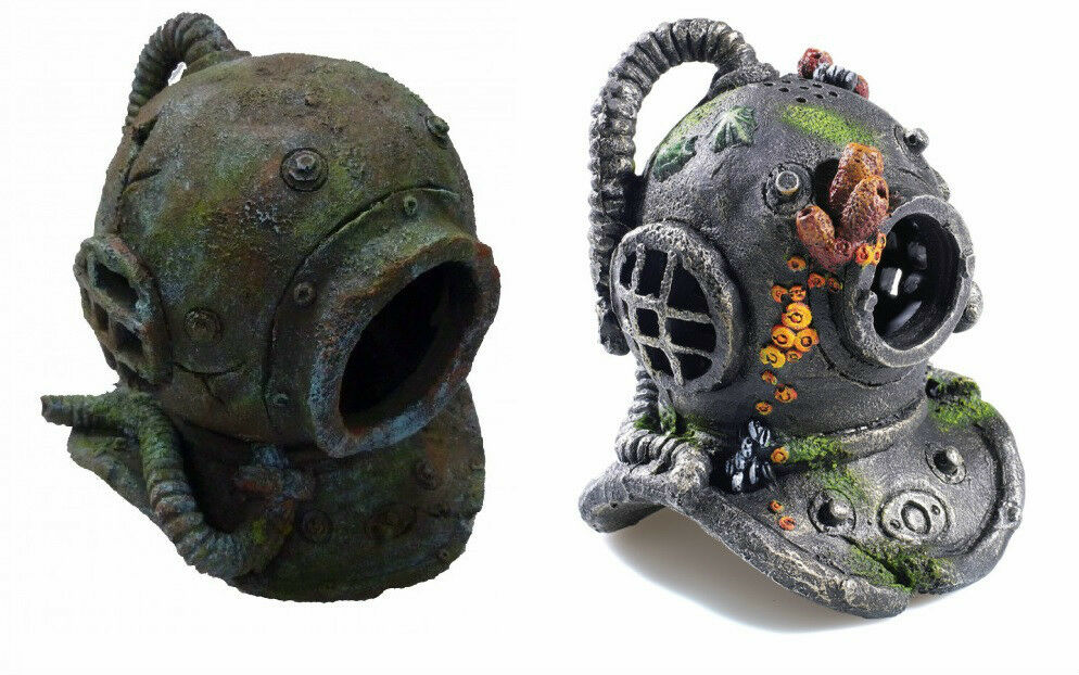 Large divers helmet fish cave aquarium ornament fish tank for Aquarium scuba diver decoration