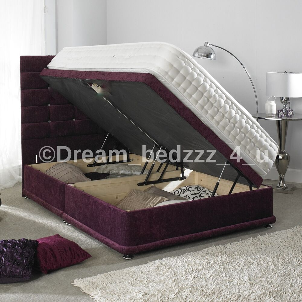 Side Lift Up Storage Divan Chenille 3ft Double 4 39 6 5ft King 6ft Bed Bases Ebay