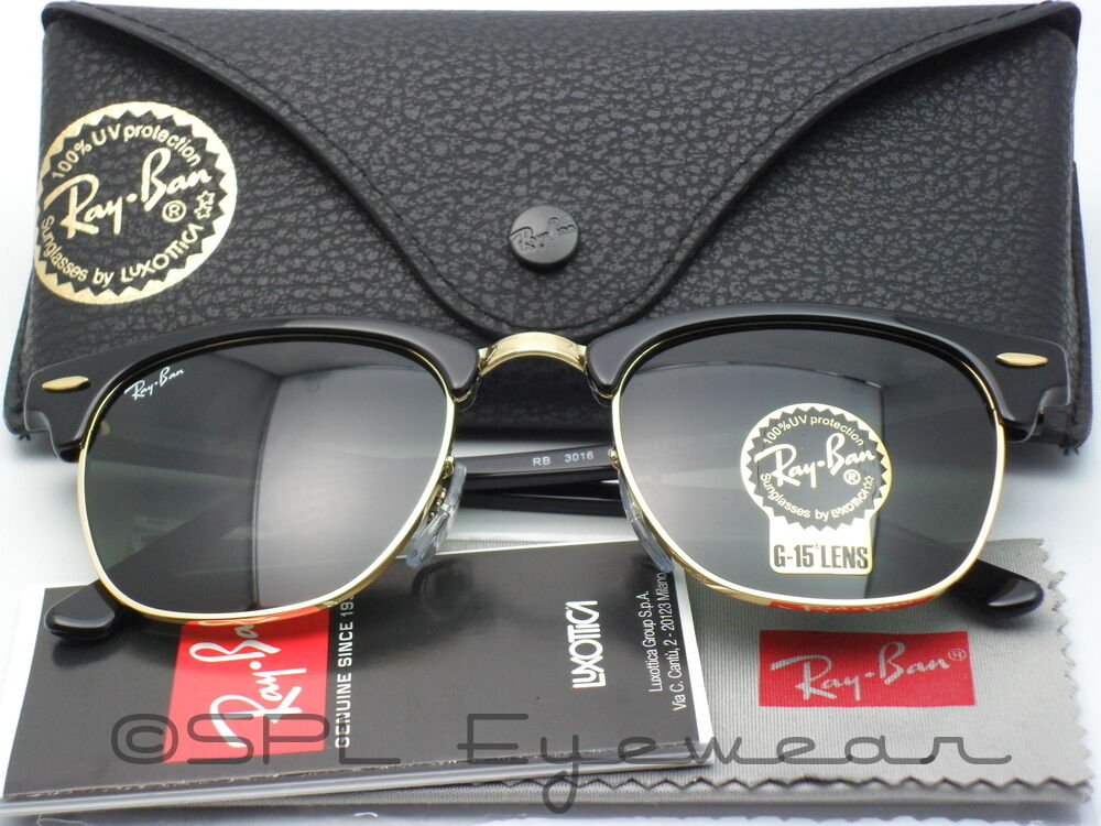 ray ban clubmaster rb3016 w0365 49 sunglasses  ray ban clubmaster classic rb3016 w0365 51 21 black green g 15 lens size 51 mm