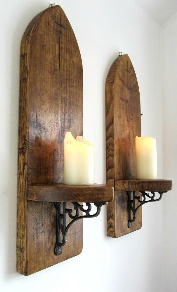 Vintage Wood Wall Sconces