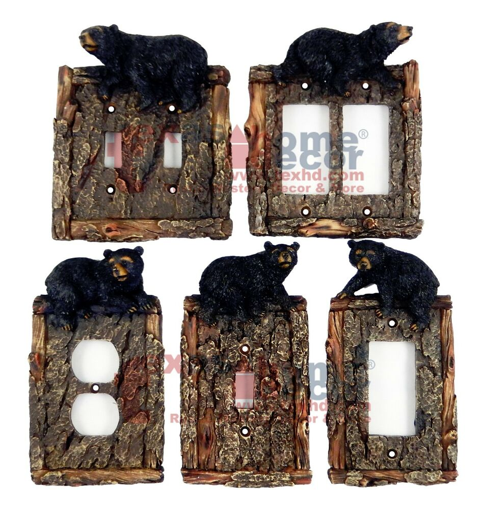 Black Bear Switch Plate Covers Faux Wood Look Cabin Decor
