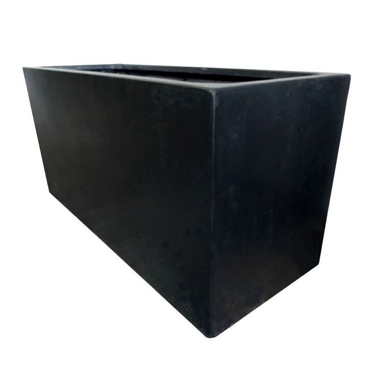 100cm black polystone jumbo trough garden planter plant