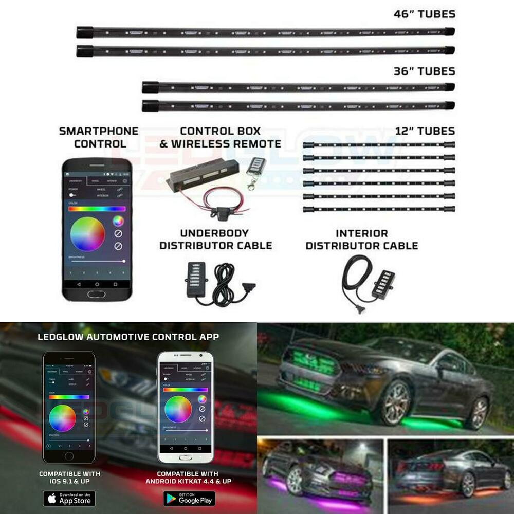 million color smd led underbody light kit w bluetooth 6 interior lights ledglow ebay. Black Bedroom Furniture Sets. Home Design Ideas