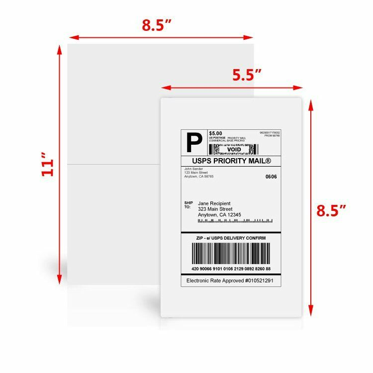 200 half sheet shipping labels 85x55 self adhesive for for Half sheet label paper